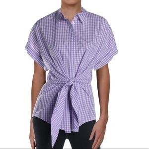 Ralph Lauren Purple & White Gingham Tie Top